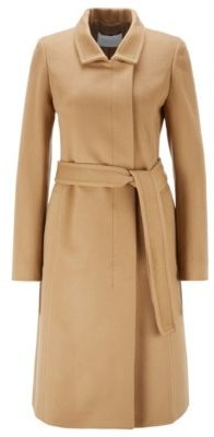 HUGO BOSS Belted coat in Italian virgin wool with zibeline finish