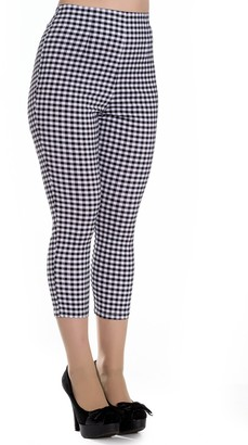 Hell Bunny Judy Checked 50s Vintage Capri Trousers 3/4 Length Pedal Pushers - Black & White (XS - UK 8)