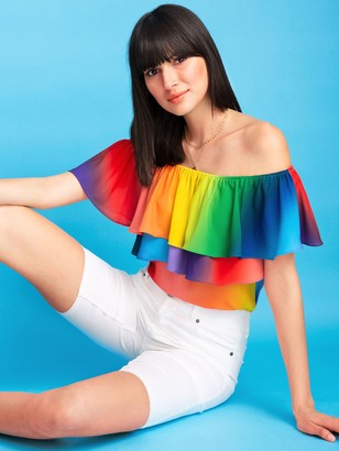New York & Co. Petite Rainbow Flounced Off-The-Shoulder Top - 7th Avenue