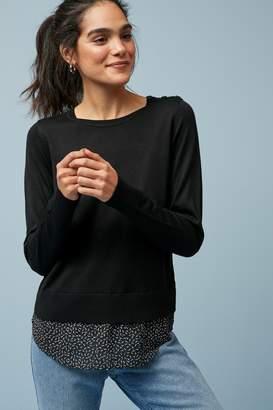 Next Womens Black Print Woven Layer Jumper - Black