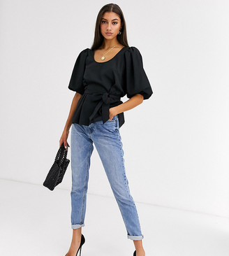 ASOS DESIGN Tall puff sleeve top in textured fabric