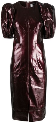 Rotate by Birger Christensen Short Puffed Sleeve Fitted Dress