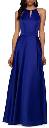 Xscape Evenings Cutout Back Front Slit Sleeveless Gown