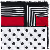 Burberry dot and stripe square scarf