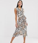 Asos Tall DESIGN Tall sleeveless collar button through midi dress in zebra print
