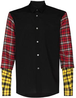 Comme des Garçons Homme Plus Tartan-Sleeve Buttoned Shirt