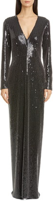 Pamella Roland Long Sleeve Studded Sequin Gown