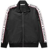 Givenchy Rubber-Appliquéd Satin-Jersey Track Jacket