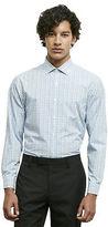 Kenneth Cole Long Sleeve Slim Fit Blue Plaid Dress Shirt
