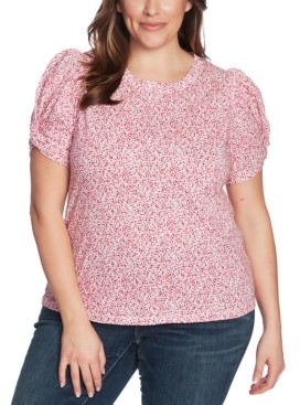 1 STATE Plus Size Floral-Print Twist-Sleeve Top