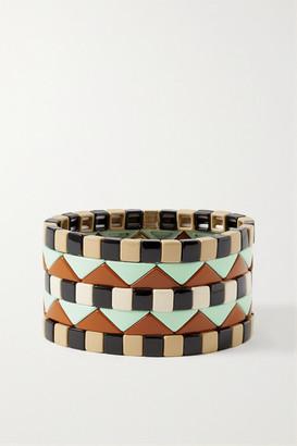 Roxanne Assoulin Terrazzo Set Of Five Enamel And Gold-plated Bracelets - Black