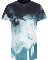 River Island Boys blue tie dye geo fade T-shirt