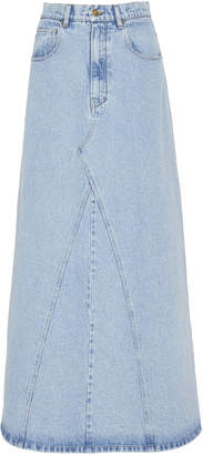 Nanushka Mae Paneled Denim Midi Skirt