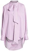 Balenciaga Swing Tieneck High-Low Pinstripe Shirt