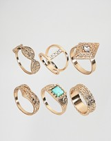 Asos Pack of 6 Gold Festival Rings