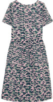 Chinti and Parker Pintucked Camouflage-print Cotton-voile Dress - Forest green