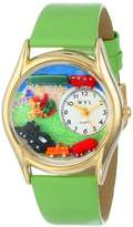 Whimsical Watches Trains Green Leather and Goldtone Unisex Quartz Watch with White Dial Analogue Display and Multicolour Leather Strap C-1610001