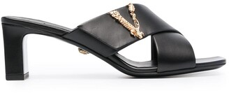 Versace Virtus crossover mule sandals