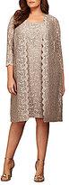 Alex Evenings Plus Scalloped Lace 2-Piece Jacket Dress