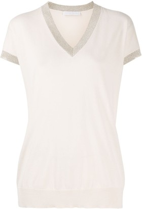Fabiana Filippi contrasting trim V-neck knitted T-shirt
