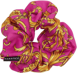 Versace Pink and Yellow Barocco Scrunchie