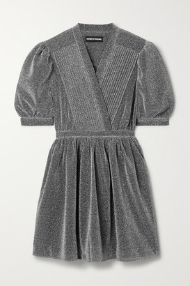 House of Holland Pintucked Lurex Mini Dress - Silver