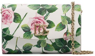 Dolce & Gabbana Floral-Print Leather Clutch Bag