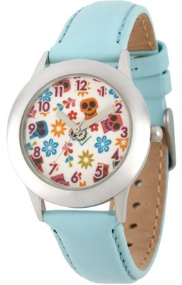 Disney Coco Girls' Stainless Steel Watch, Blue Leather Strap
