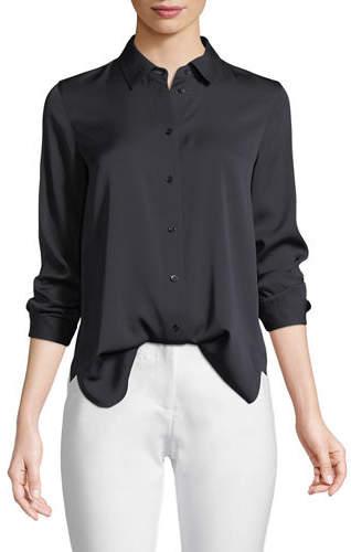 Vince Slim-Fit Long-Sleeve Stretch-Silk Blouse