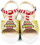 Yellow & Red 'Popcorn' T-Strap Sandal