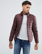 Pull&Bear Quilted Jacket In Burgundy