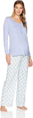 Belabumbum Women's Violette Maternity and Nursing Tunic & Loungepant Pajama Set Small/Medium