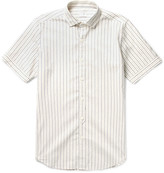 Incotex - Slim-fit Embroidered Dot-stripe Cotton Shirt