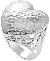 Journee Collection Women's Hammered Ring in Sterling Silver - Heart