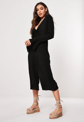 Missguided Black Flared Sleeve Culotte Romper