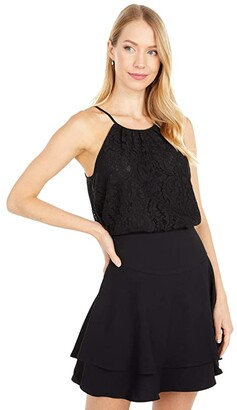 1 STATE Halter Neck Lace Top (Rich Black) Women's Clothing