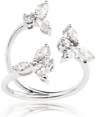 YEPREM White Gold and Diamond Snowflakes Open Ring