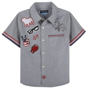 Andy & Evan Baby Boy's Chambray W. Patches Short Sleeve Button-Down Shirt