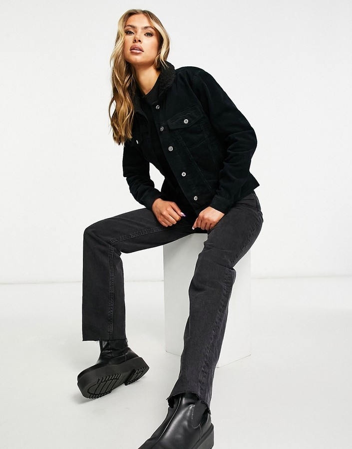 Thumbnail for your product : Brave Soul prestwich borg collar cord jacket in black