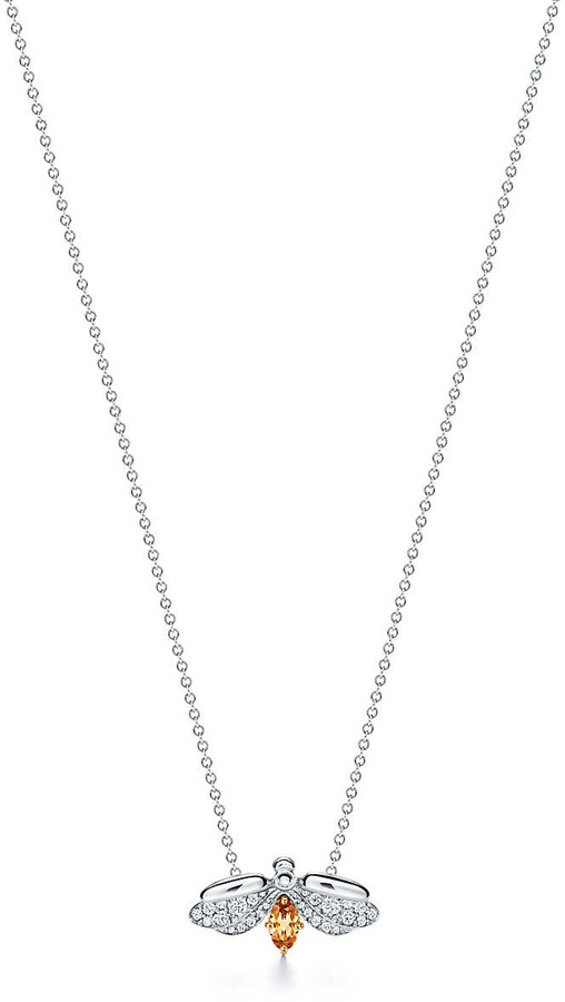Tiffany & Co. Paper Flowers spessartine firefly pendant in platinum and 18k gold