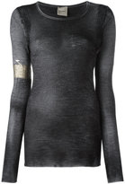 Nude embellished patch top - women - Silk/Cashmere/Wool - 46