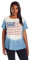 Lucky Brand Women's Plus-Size Dip Dye Embroidered Flag