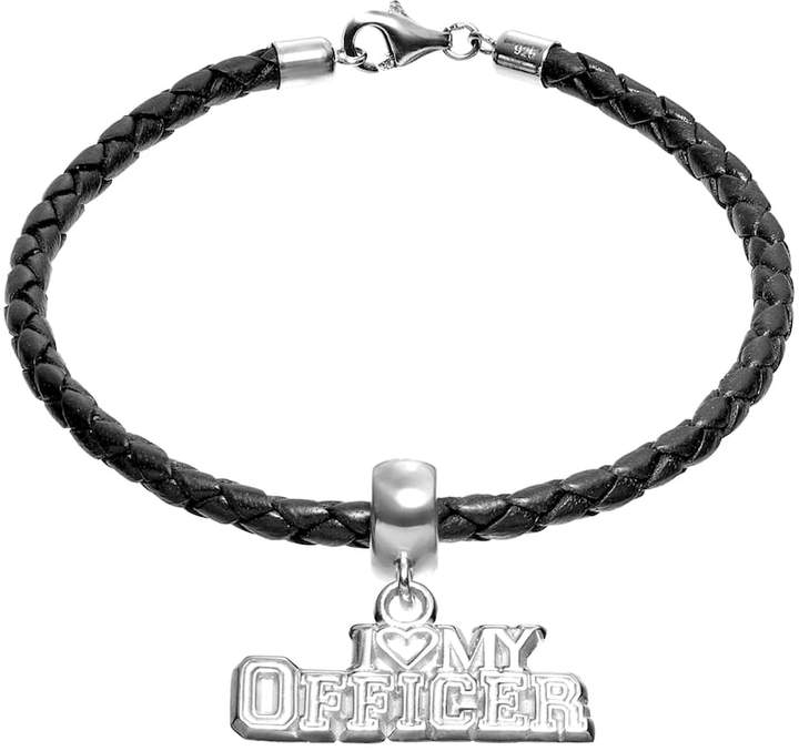 """Insignia Collection Sterling Silver & Leather """"I Love My Officer"""" Charm Bracelet"""