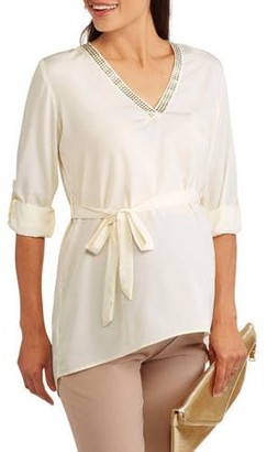 Oh! Mamma Maternity embroidered vneck 3/4 sleeve belted shirt