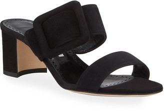 Manolo Blahnik Tituba Suede Slide Sandals