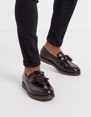 H By Hudson calne loafers in hi shine burgundy