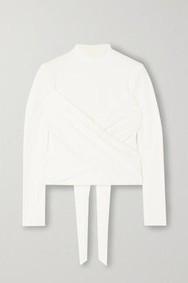 Reformation Net Sustain Lia Cropped Twisted Stretch-cotton Jersey Top - Ivory