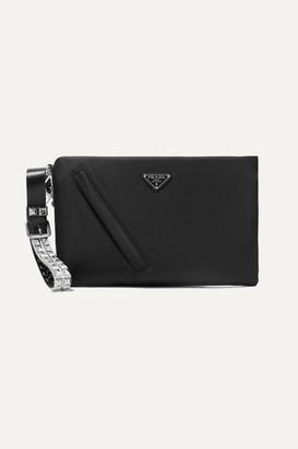 Prada Vela Studded Leather-trimmed Nylon Clutch - Black
