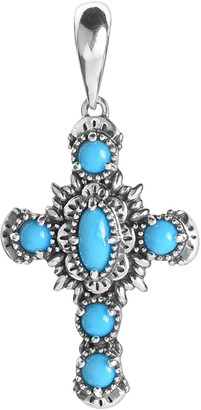 American West Sterling Silver Turquoise Cross Enhancer