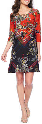MSK 3/4 Sleeve Midi Paisley Shift Dress